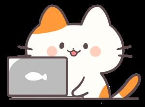 パソコンを使う猫の画像
